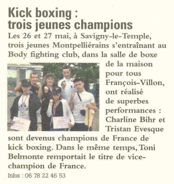 Resultats du Championnat de France FFKB en mai 2007 (N°1)