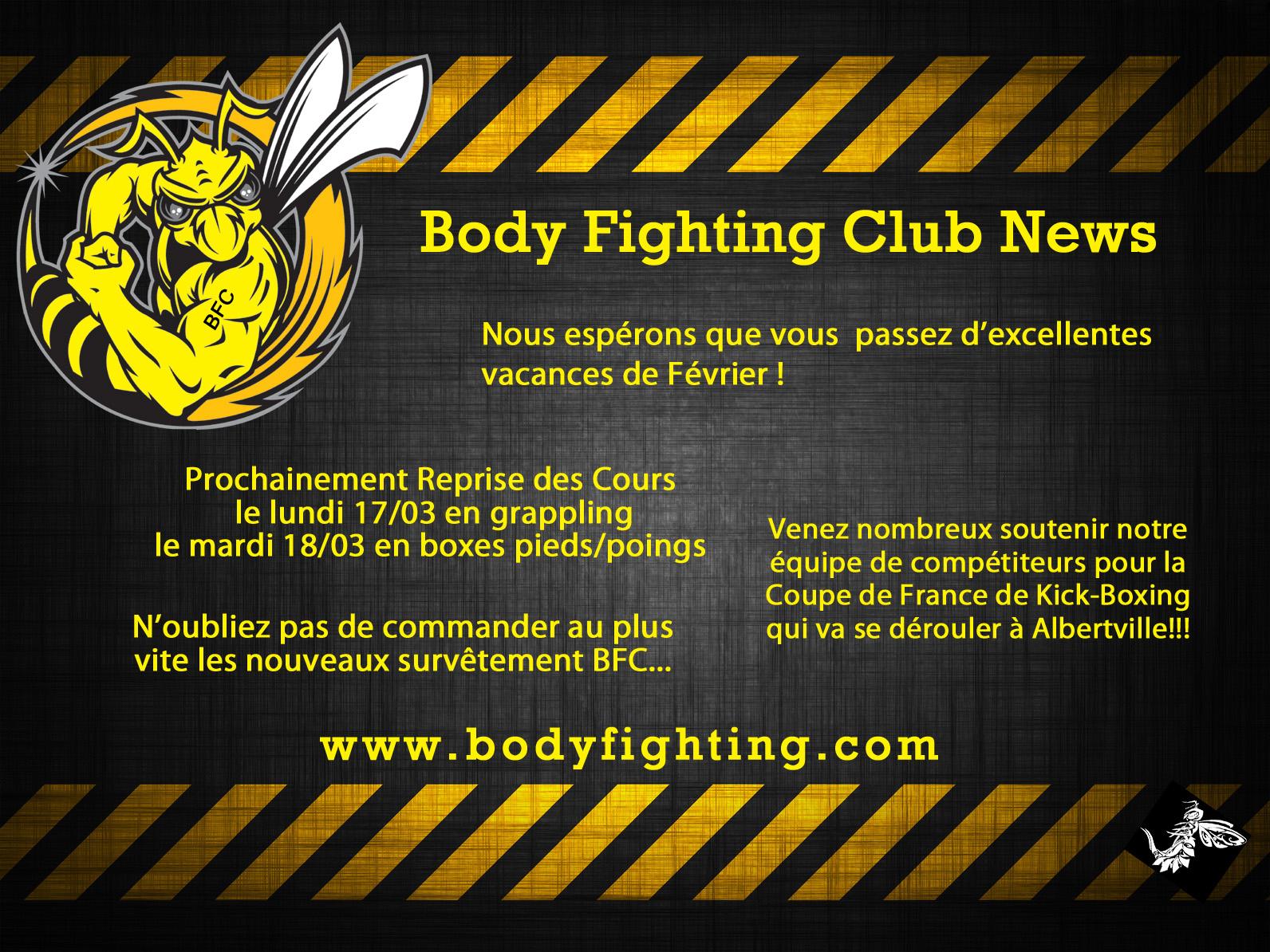 Le club réouvre le lundi 17 mars, bonnes vacances à tous les bodyfighters