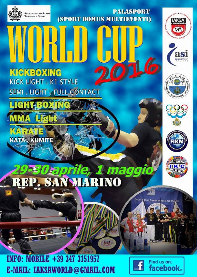 WORLD CUP IAKSA 2016 DU 29 AVRIL AU 01 MAI À SAN MARINO