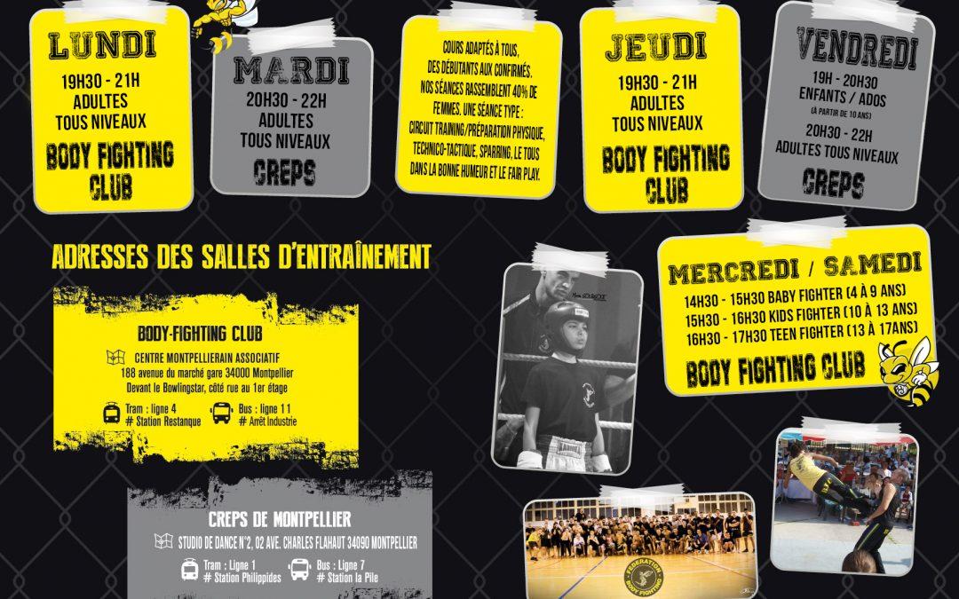 Voici le nouveau planning des cours de body-Fighting (boxe , boxe thailandaise , kickboxing , MMA) dans nos 2 salles sur Montpellier