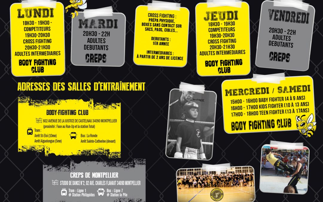 Planning des cours collectifs du Body-Fighting Club de Montpellier